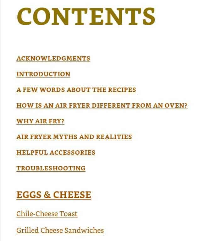 the contents page from the cookbook every day easy air fryer.