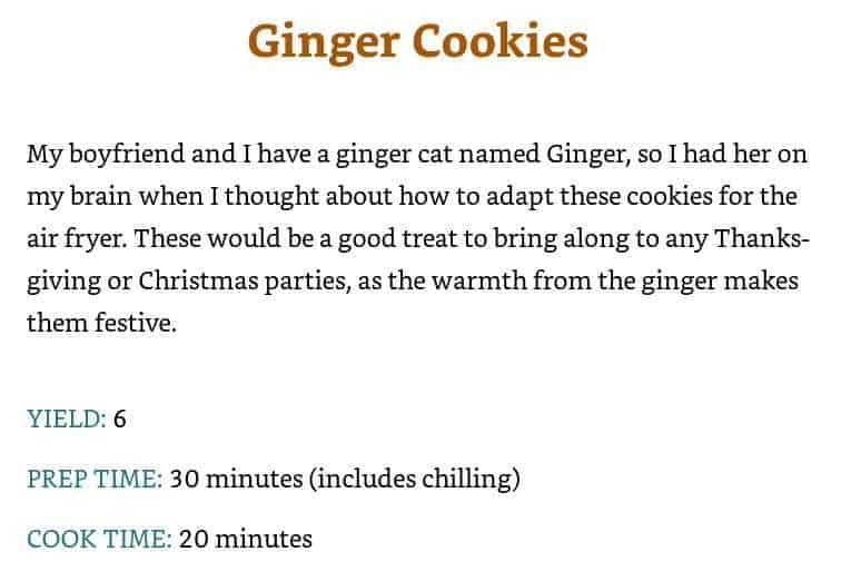 a ginger cookies recipe from air fryer delights.