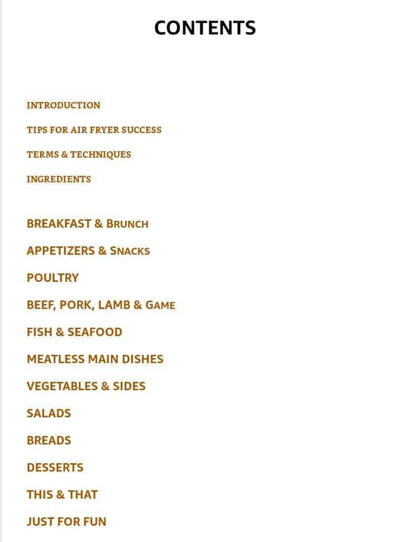 this is the contents page from the air fryer bible.