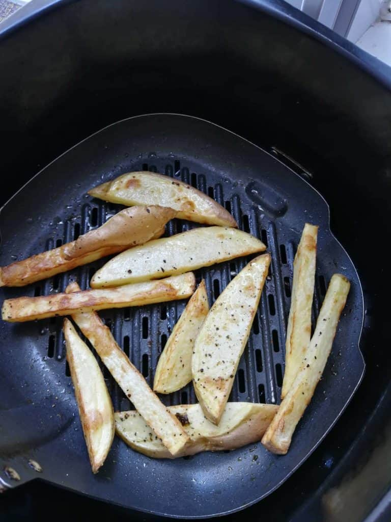 This is what my home made chips looked like after air frying.