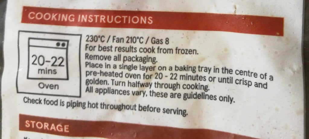 These are the regular cooking instructions for frozen chips.