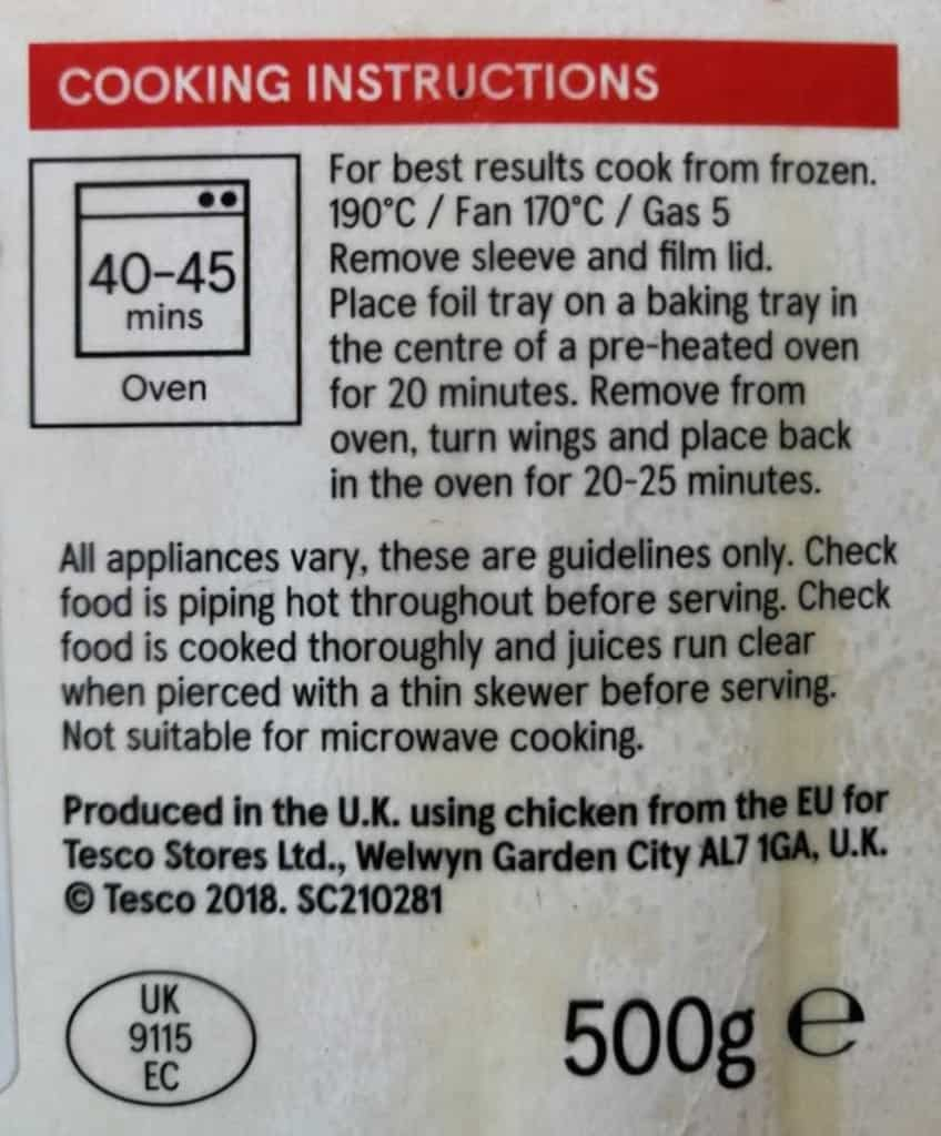 The cooking instructions for the buffalo chicken wings.