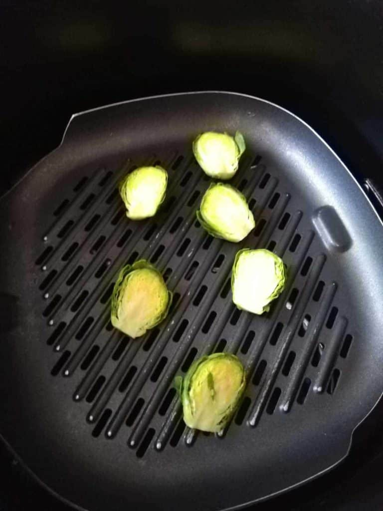brussels sprouts waiting to get zapped in the air fryer
