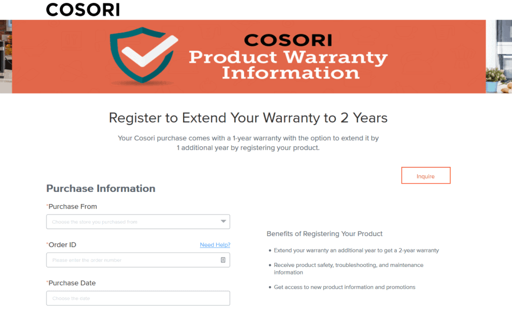this is th warranty information on cosori's website