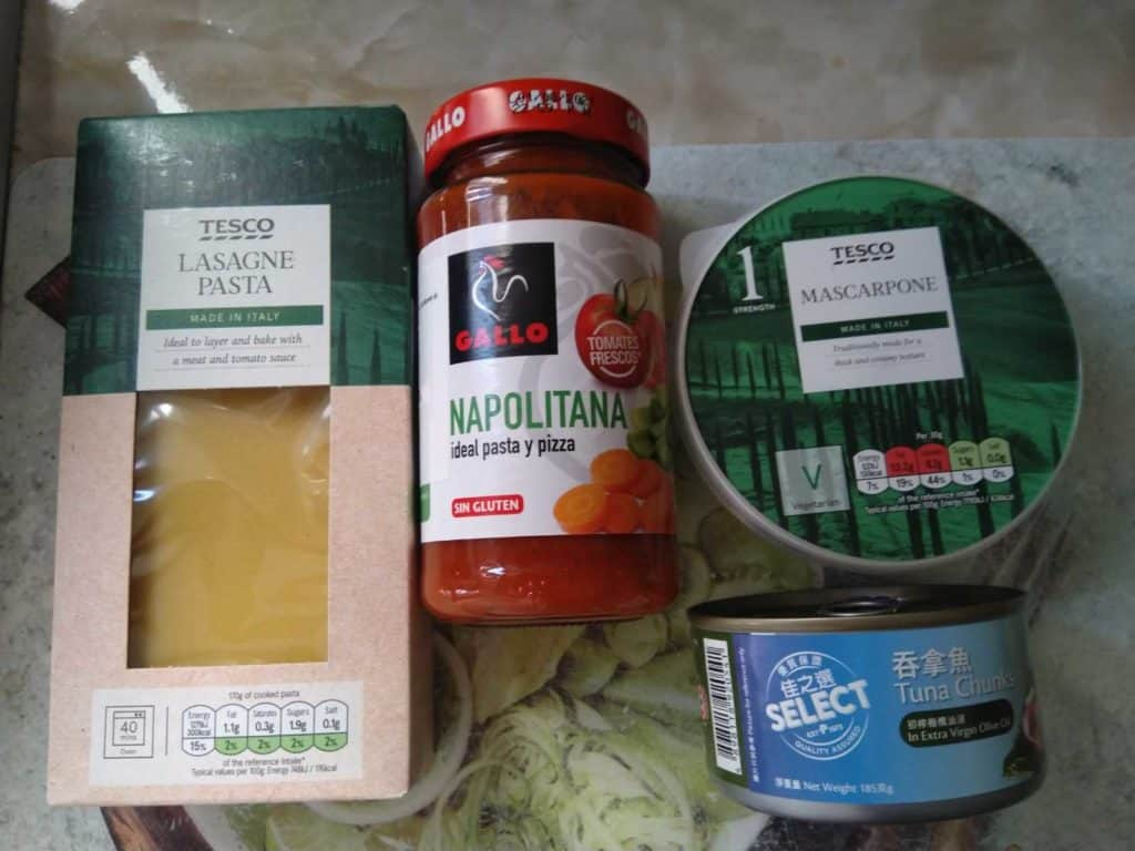 the ingredients I used for my air fried lasagna.